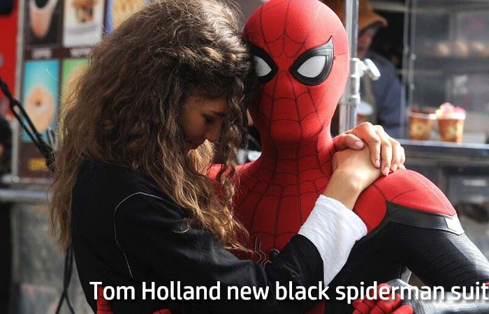 Tom Holland new black spiderman suit